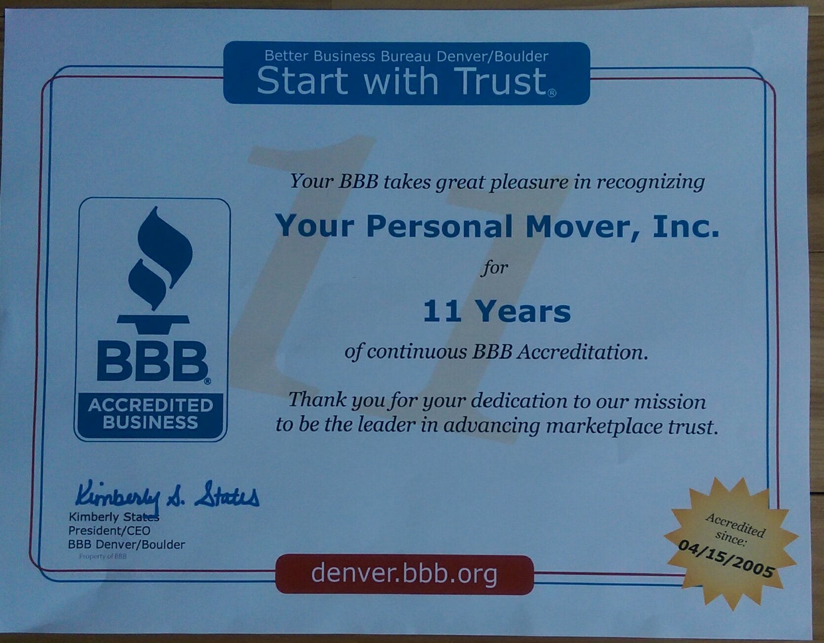 A+ BBB Rating for Your Personal Movers